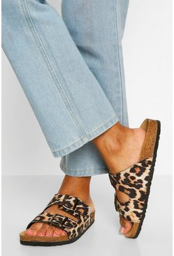 Leopard multi Double Strap Footbed Sliders