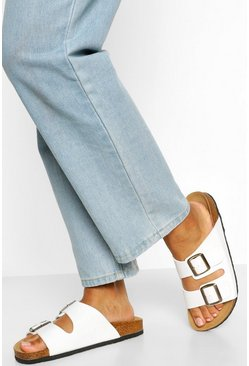 White Double Strap Footbed Sliders