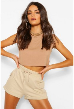 Camel beige Shoulder pad crop t-shirt