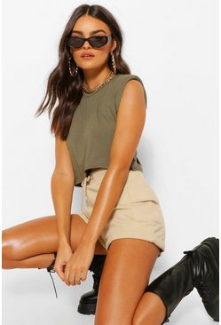 Khaki Shoulder pad crop t-shirt