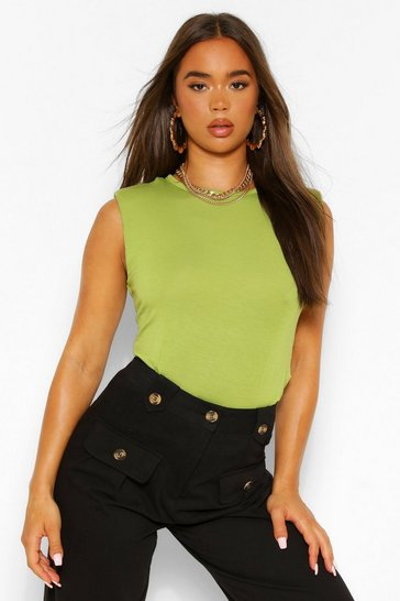 Chartreuse yellow The Shoulder Pad Tee