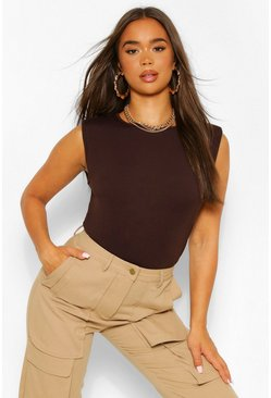 Chocolate brown The Shoulder Pad Tee