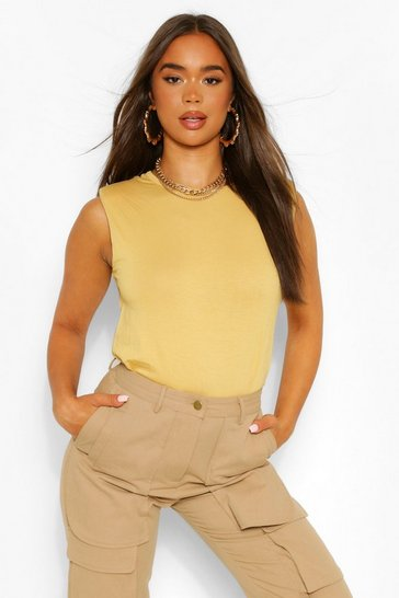 Ochre yellow The Shoulder Pad Tee