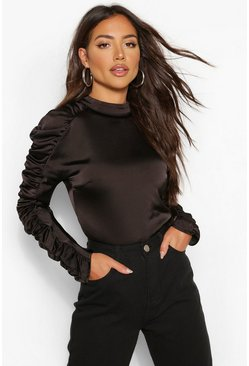Black Satin ruched sleeve high neck top