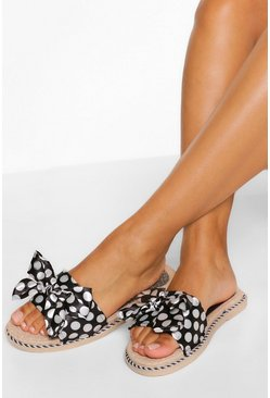 Black Polkadot Bow Detail Slider