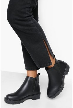 Black Elastic Panel Chunky Cleated Chelsea Boot
