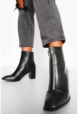 Black Zip Front Pointed Shoe Boot