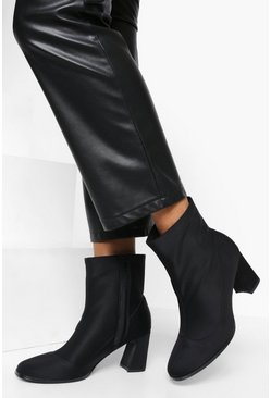 Black Low Flare Heel Shoe Boot
