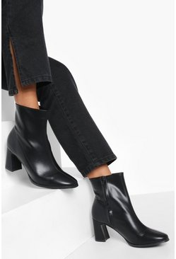 Black Low Flare Heel Sock Boot