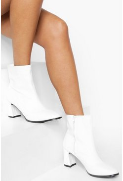 White Low Flare Heel Sock Boot