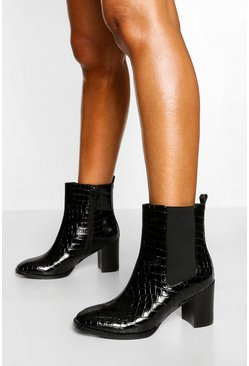 Black Block Heel Shoe Boot