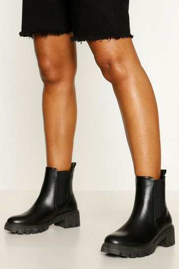 Black Chunky Cleated Chelsea Boot