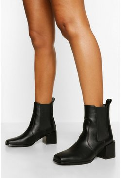 Black Elastic Panel Low Block Heel Shoe Boot