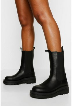 Black Chunky Cleated Calf High Chelsea Boot