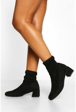 Black Low Block Heel Sock Boot