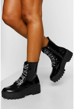 Black Lace Up Chunky Cleated Hiker Boot