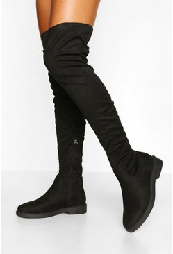 Black Wide Fit Flat Stretch Over The Knee Boot