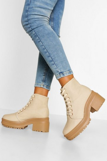 Beige Wide Fit Chunky Lace Up Hiker Boots