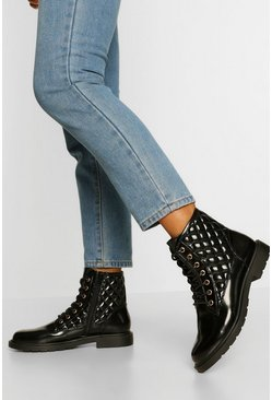Black Quilted Lace Up Hiker Boot