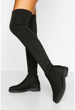 Black Flat Stretch Over The Knee Boot
