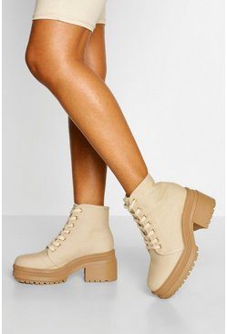 Beige Chunky Lace Up Block Heel Hiker Boot