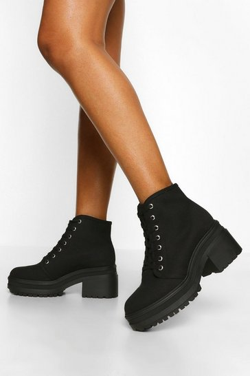 Black Chunky Lace Up Block Heel Hiker Boot