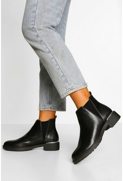 Black V Detail Chunky Chelsea Boot