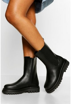 Black Calf High Chunky Hiker Boots