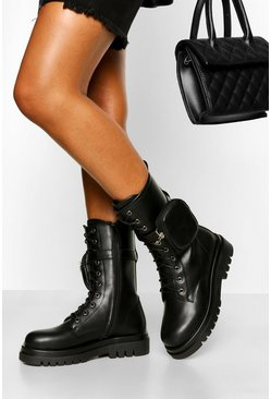 Black Calf High Chunky Hiker With Detachable Pouch