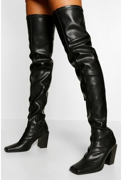 Black Block Heel Over The Knee Boot