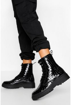 Black Chunky Sole Lace Up Hiker Boot