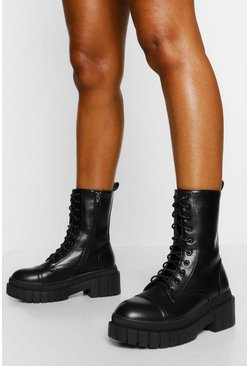 Black Chunky Sole Hiker Boot