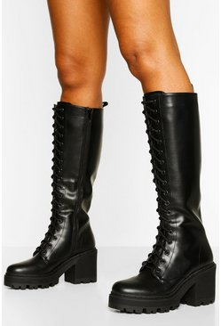 Black Knee High Lace Up Chunky Hiker Boot