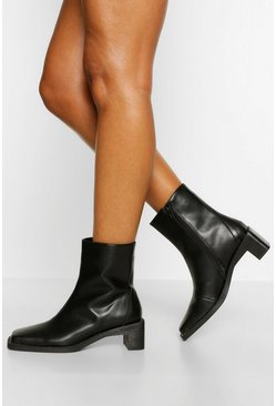 Black Interest Low Heel Shoe Boot