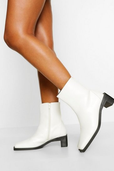White Interest Low Heel Shoe Boot