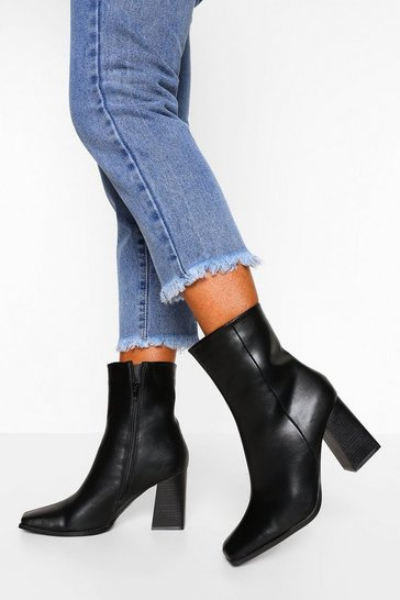 Black Block Heel Square Toe Sock Boot