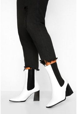 White Elastic Detail Block Heel Shoe Boot