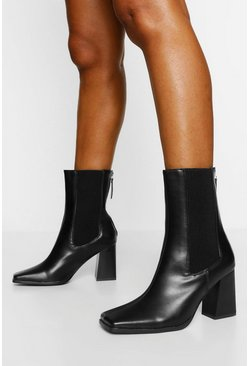 Black Elastic Detail Block Heel Shoe Boot