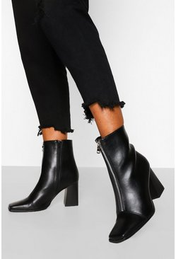 Black Zip Front Square Toe Shoe Boot