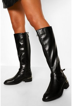 Black Belt Detail Riding Boot