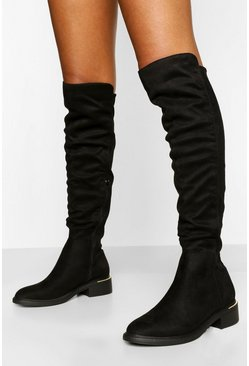 Black Metal Trim Knee Boot