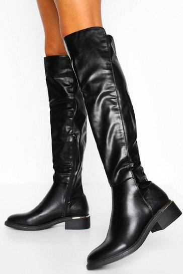 Black Metal Trim Knee Boot