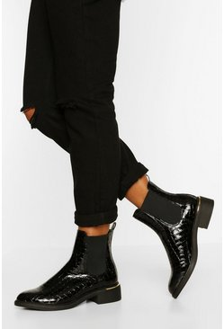 Black Metal Trim Chelsea Boot