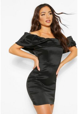 Black Taffeta Off The Shoulder Statement Mini Dress