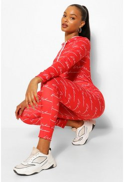Red Woman Script Print Onesie