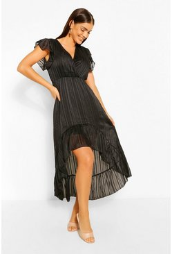 Black Striped Satin Dip Hem Midaxi Dress
