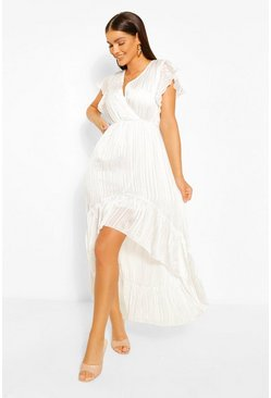 White Striped Satin Dip Hem Midaxi Dress