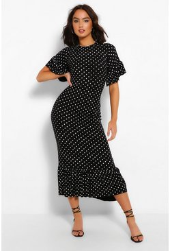 Black Polka Dot Frill Hem Midi Dress
