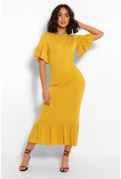 Mustard Polka Dot Frill Hem Midi Dress