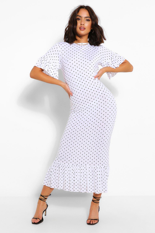 DRESSES Polka Dot Frill Hem Midi Dress